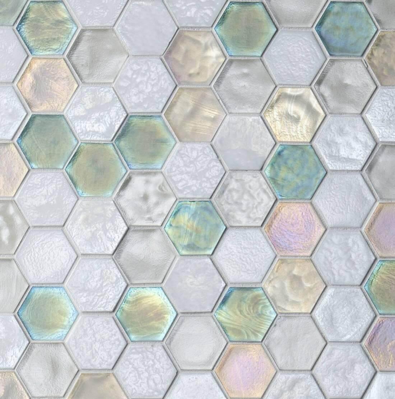 Hexagon mosaic tile in pastel tones