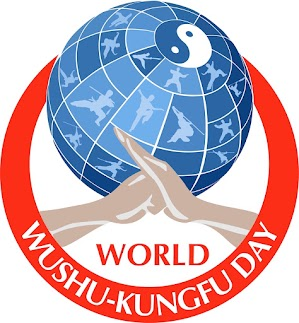 """""""On the logo there is the Earth along with silhouettes of different styles of wushu (kungfu). The wushu greeting represents respect and adherence to traditions. The monad (ying-yan) symbolizes the integration of sports and traditions, joining different wushu styles and the collaboration of all people on the planet."""""""