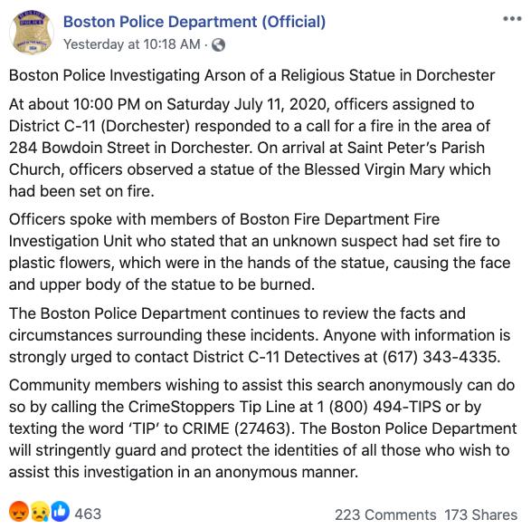 Những kẻ phá hoại đốt bức tượng Đức Mẹ 75 tuổi tại Giáo xứ ở Boston