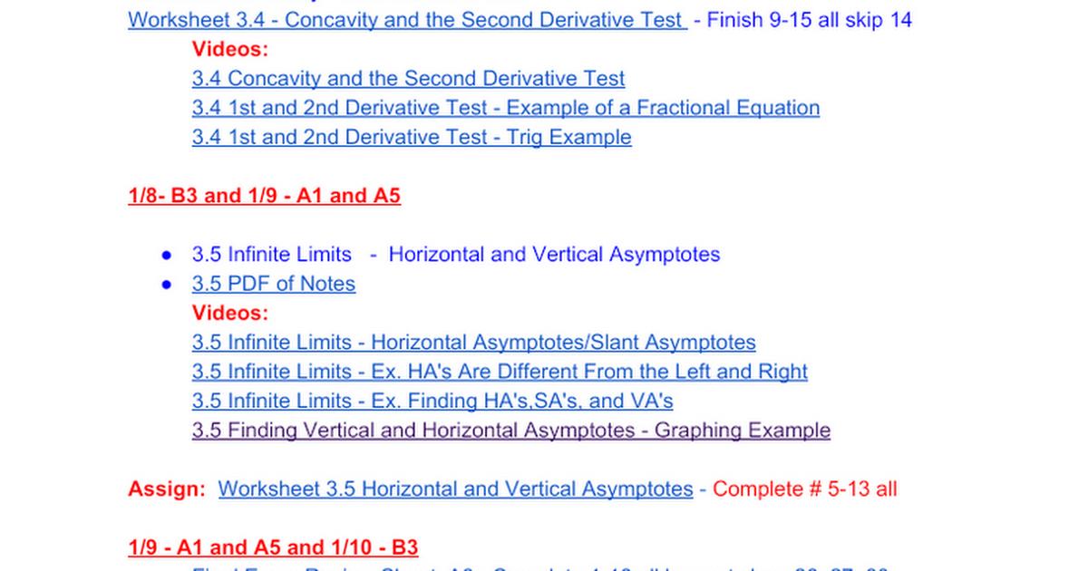 Week 19: Calculus - January 8 - January 12 - Google Docs