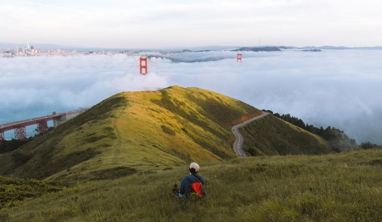 a person sitting on a hill above a foggy Golden Gate Bridge and San Francisco