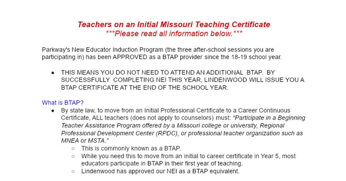 BTAP - Beginning Teacher Assistance Program - Google Docs