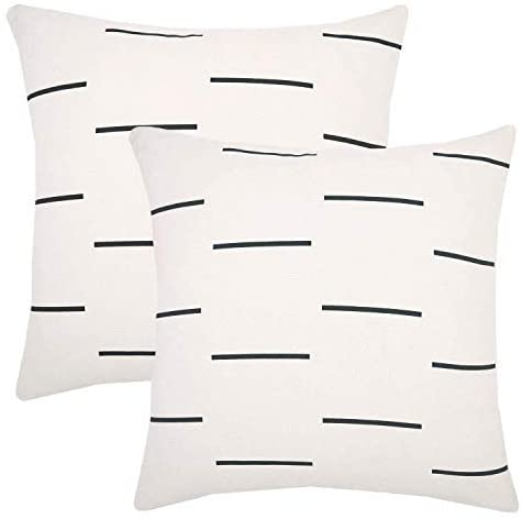 woven nook decorative throw pillow covers black lines