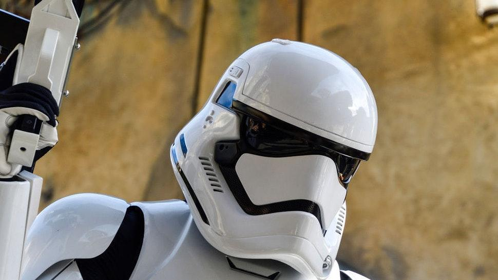 "A stormtrooper at Star Wars: Galaxy""u2019s Edge inside Disneyland in Anaheim, CA, on Tuesday, Jan 7, 2020. (Photo by Jeff Gritchen, Orange County Register/SCNG)"