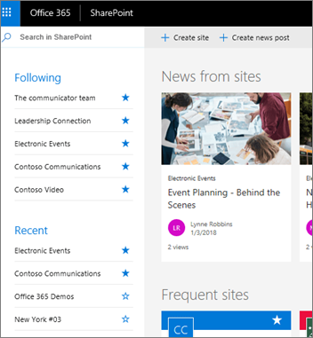 SharePoint Online home page