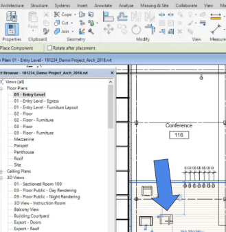 Place family in Revit