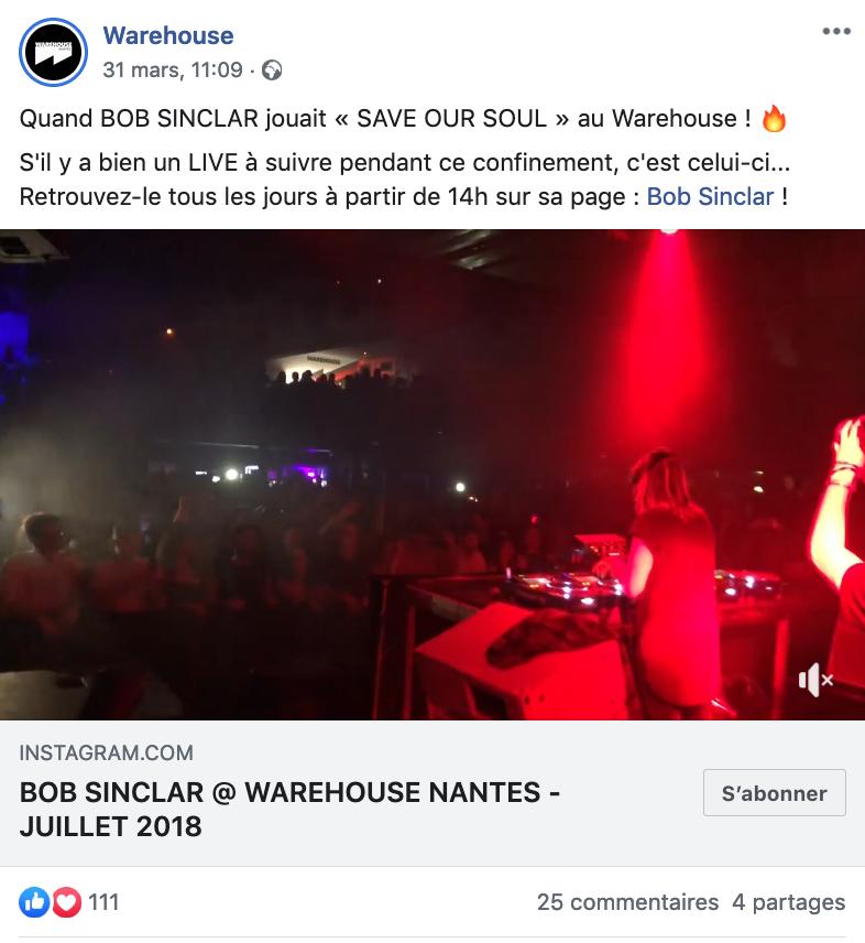 Post facebook du Warehouse pendant le confinement