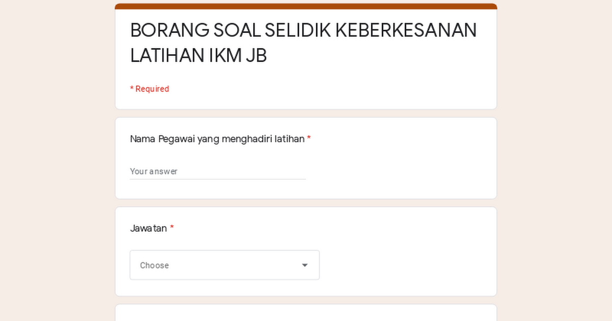 Borang Soal Selidik Keberkesanan Latihan Ikm Jb