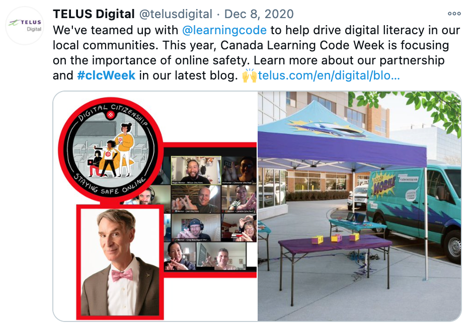 "Screenshot of CLC tweet by Telus Digital, saying: ""We've teamed up with @learningcode to help drive digital literacy in our local communities. This year, Canada Learning Code Week is focused on importance of online safety. Learn more about our partnership and #clcWeek in our latest blog. *link to the blog*"""