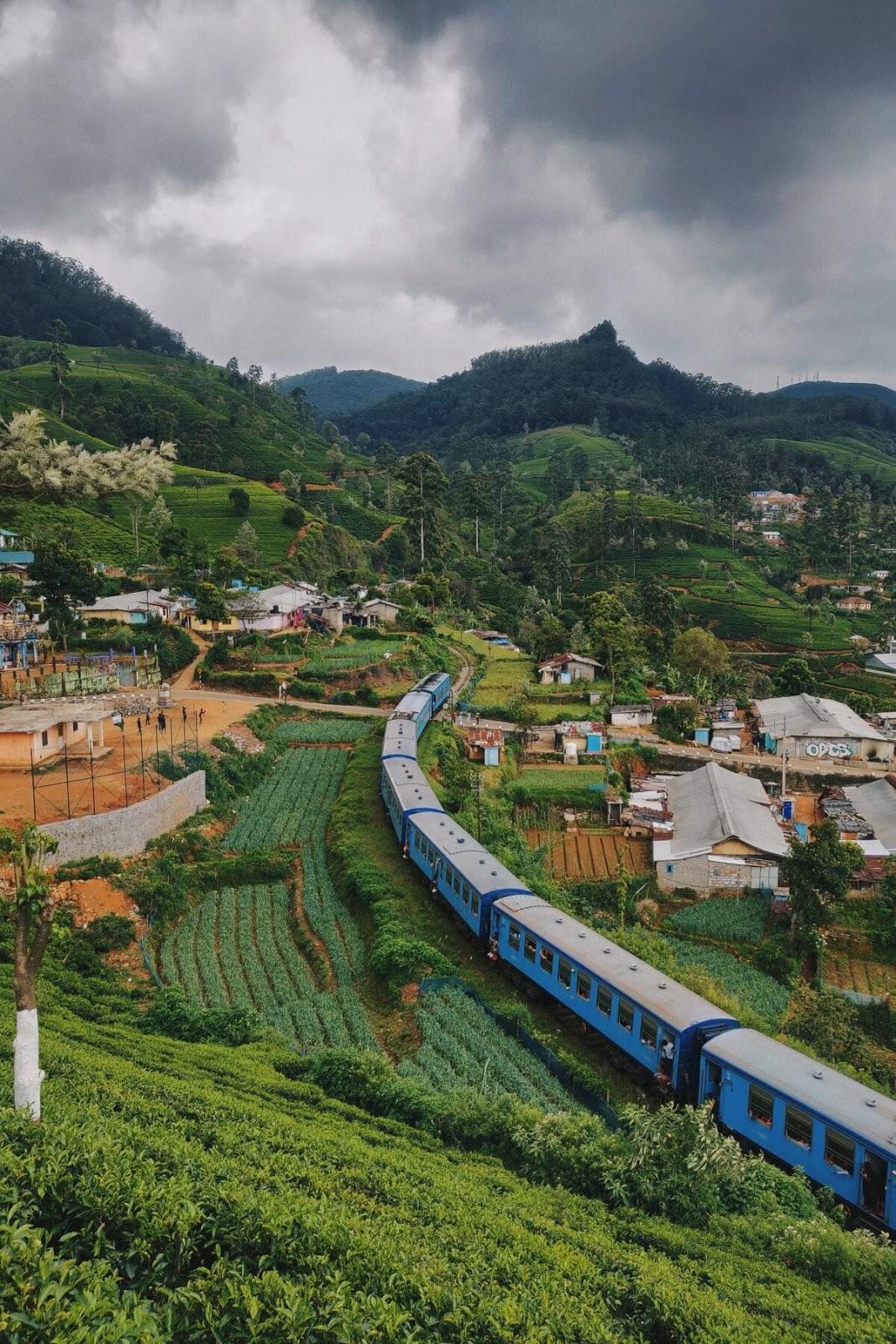 Sri Lanka train passing through village