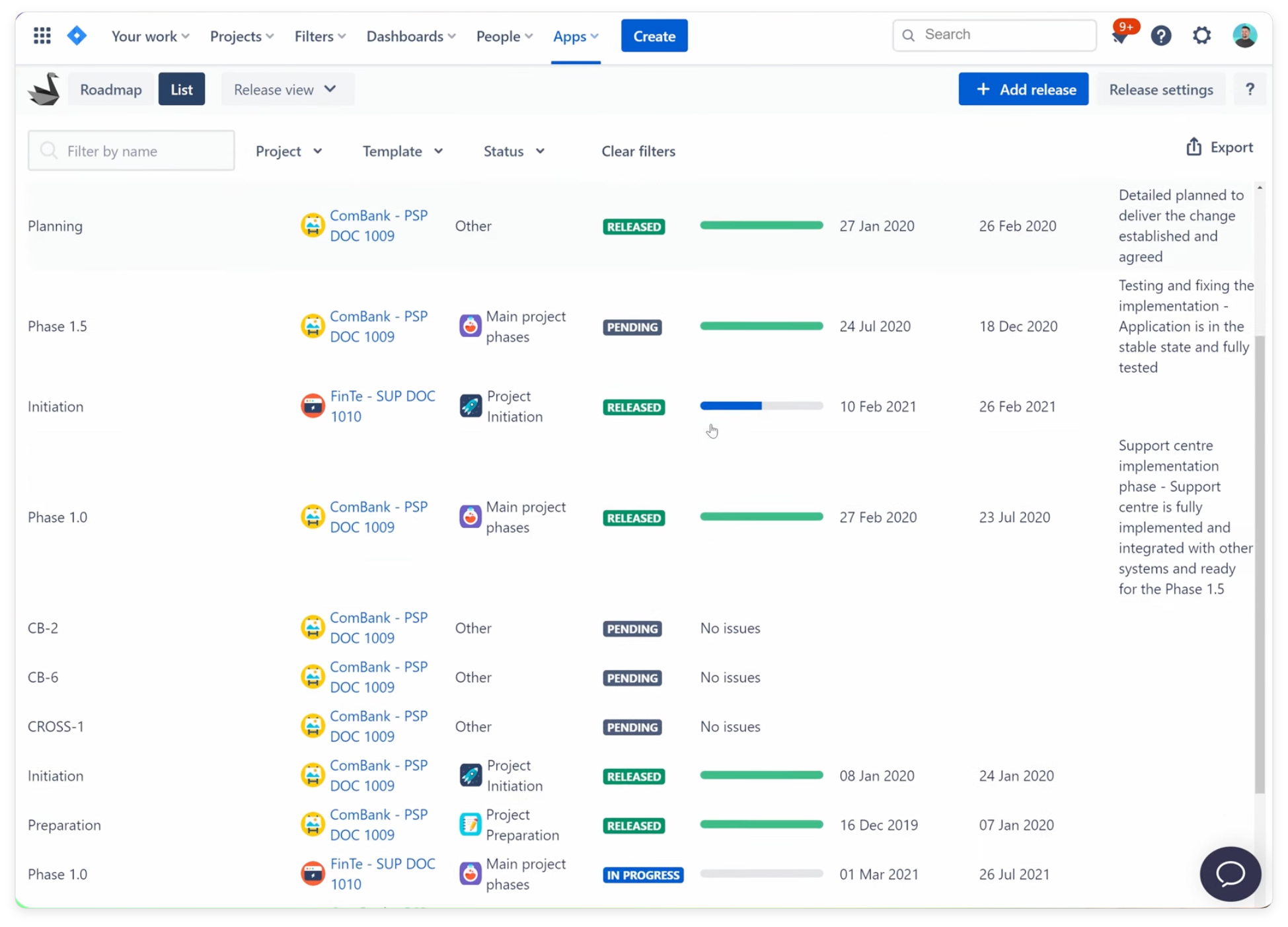 Swanly list view for macro view of Jira cross-project work