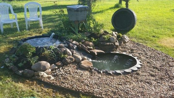 garden pond made of tyres