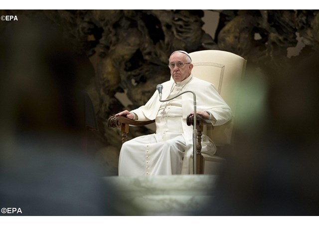 Pope Francis on Saturday met with a group of Fortune 500 and Time 100 leaders. - EPA