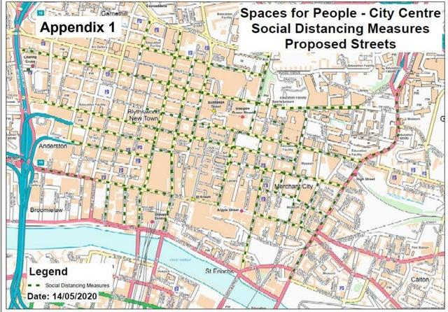 Glasgow city centre streets with proposed wider pavements and/or cycle lanes. Picture: Glasgow City Council.
