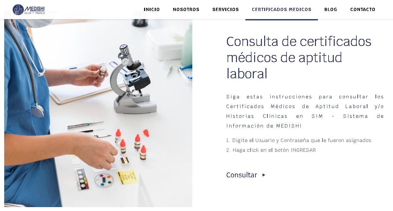 Descargar certificado de aptitud laboral en Medishi