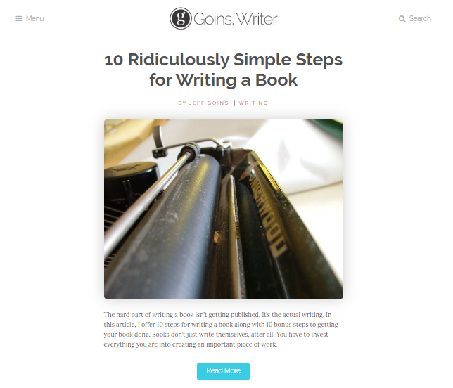 Website design ideas example: Goins Writer