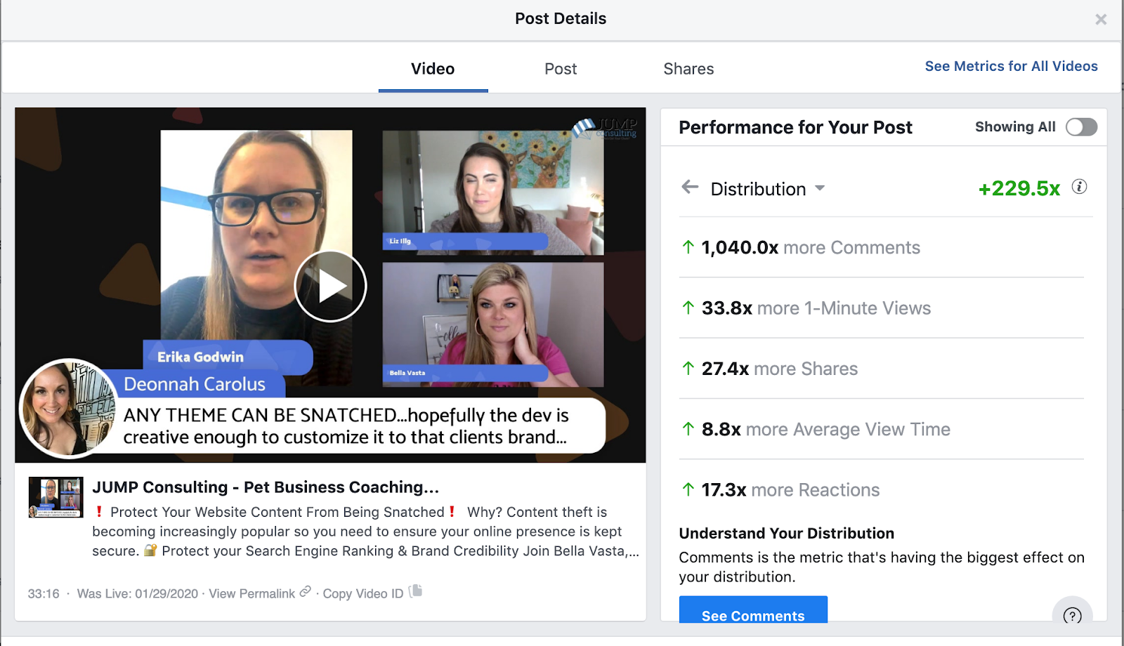 Results from Facebook Live Strategy