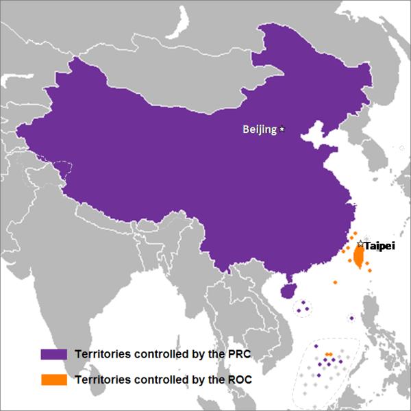 Mapa. Conteúdo China e Estados Unidos.