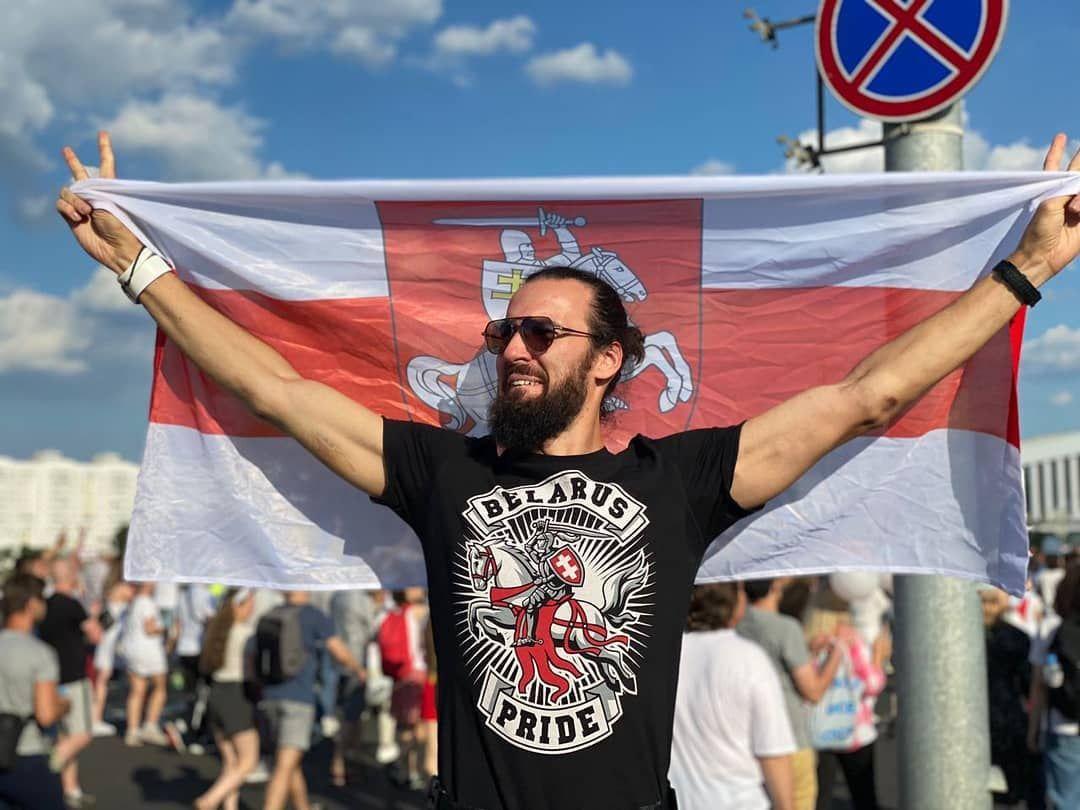 Андрій під час історичного Маршу за свободу в Мінську, 16 серпня 2020 рік