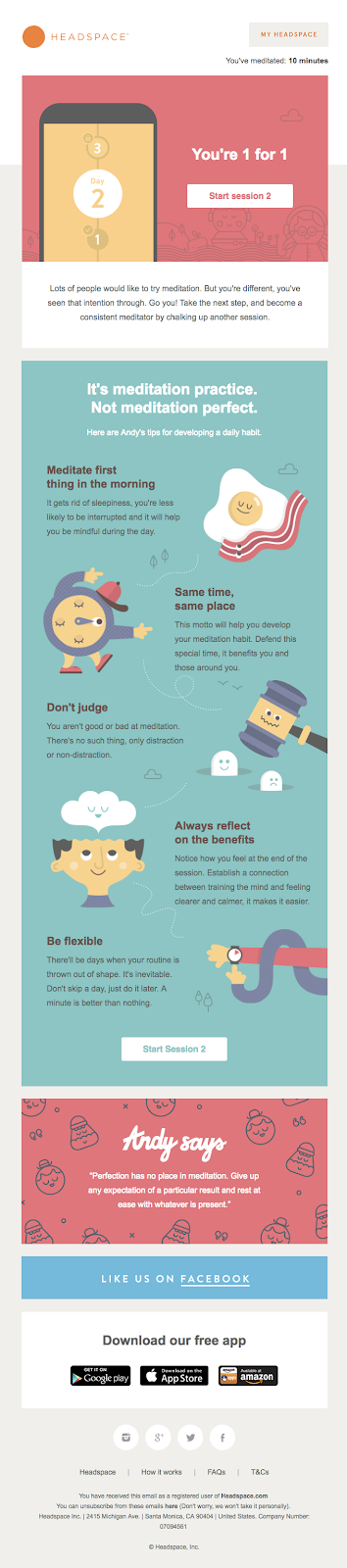 Headspace onboarding email