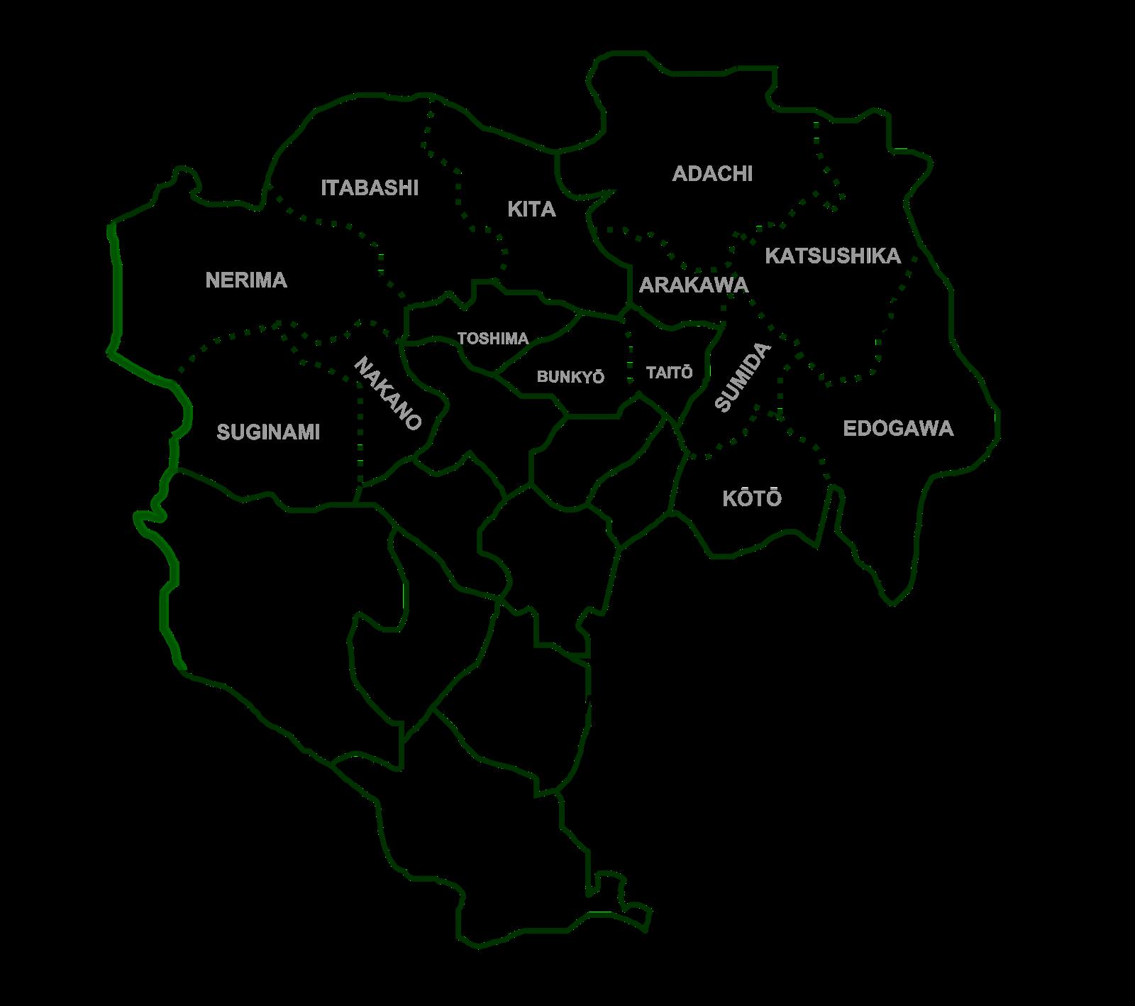 Tokyo special wards map