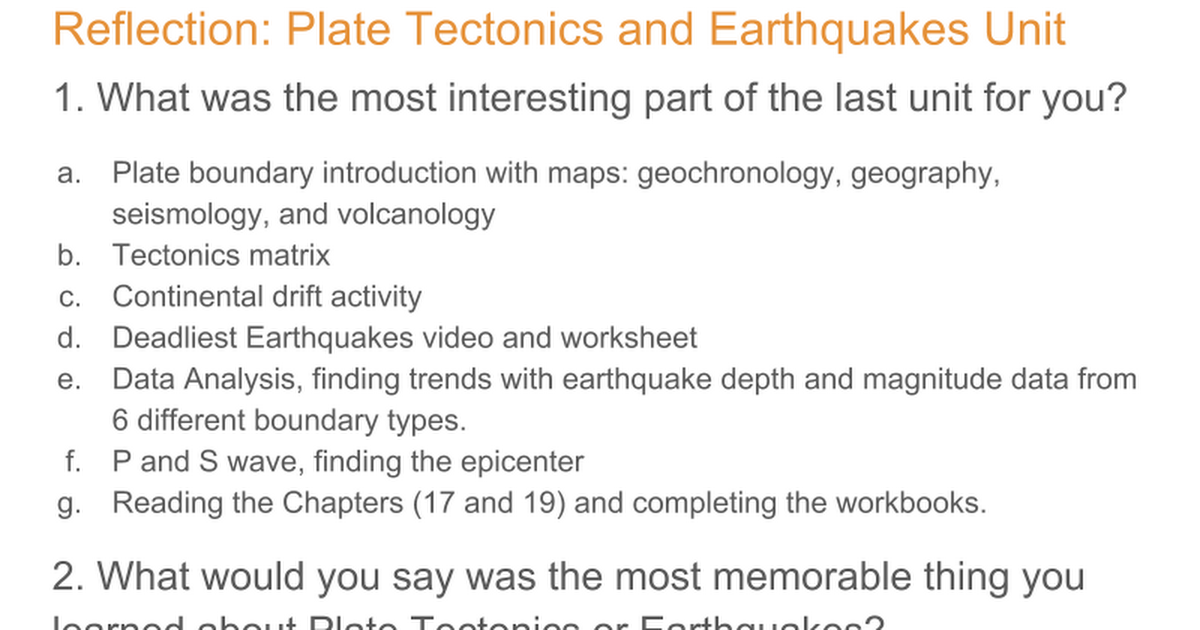 reflection paper about plate tectonics