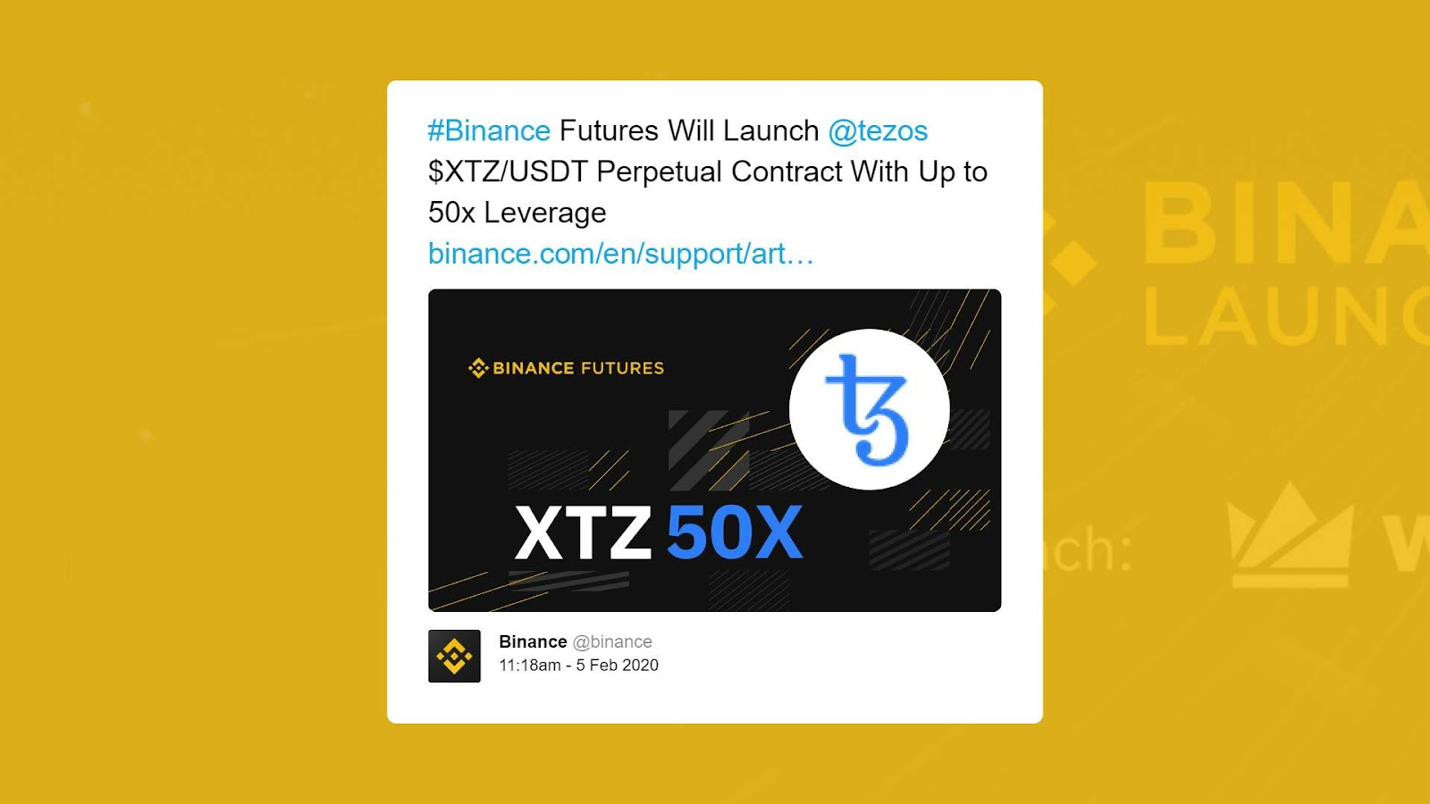 Binance launches Tezos perpetual contracts