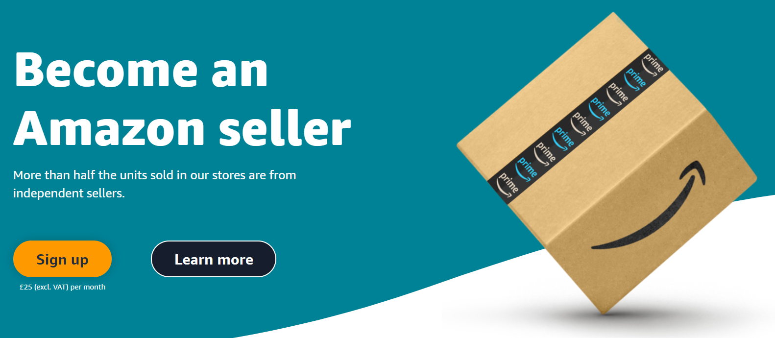 Screenshot of Amazon advertising its platform for independent sellers.