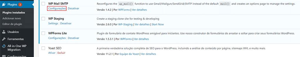 seleção de configurações do plugin wp mail smtp no wordpress