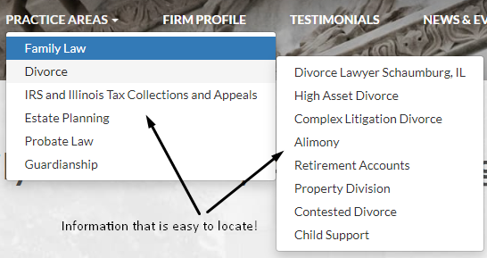 Law firm website structure