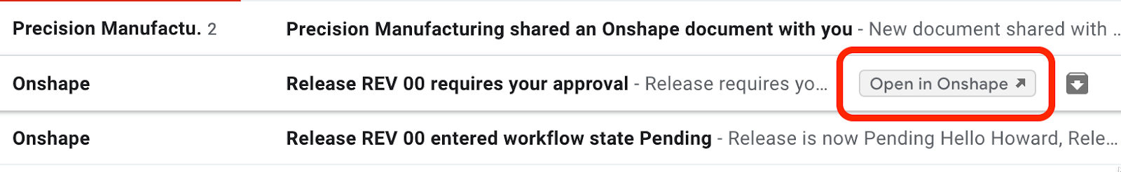 Screenshot of Onshape's email notification direct link inside Gmail.