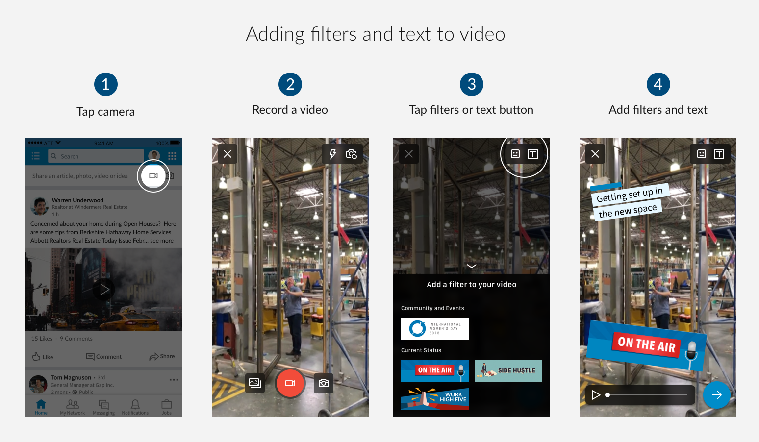 linkedin video filters