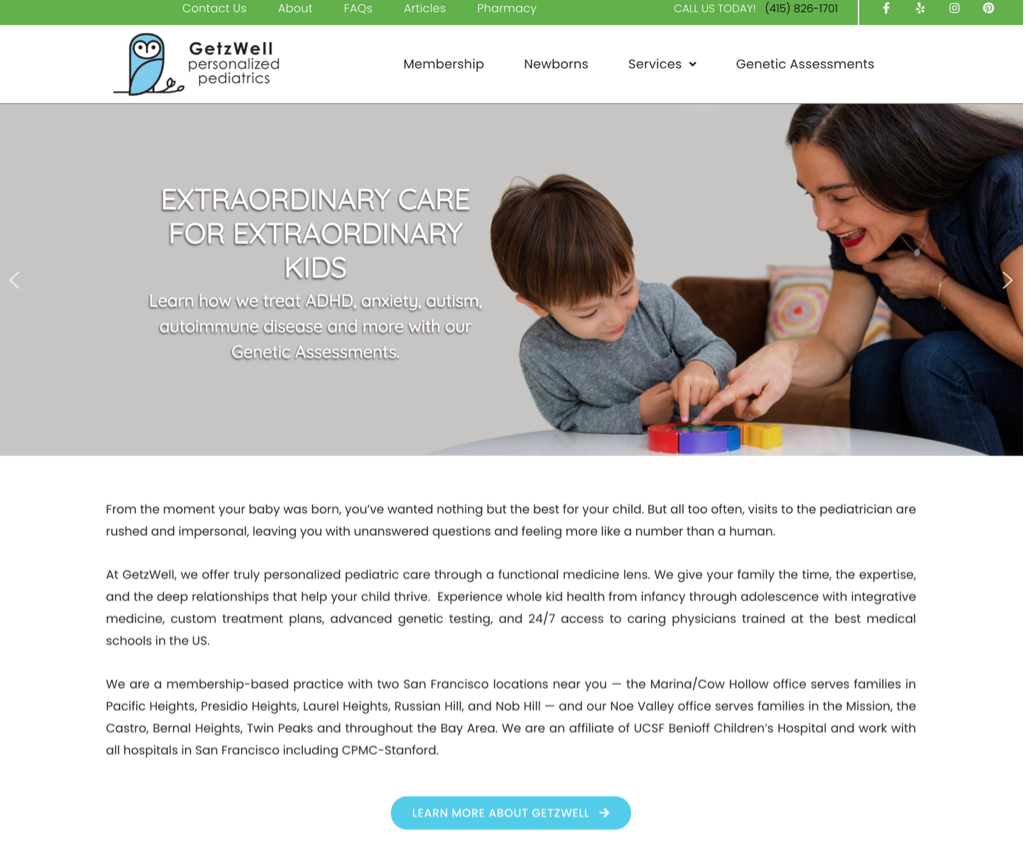Pediatrician Website Example #3 with Analysis
