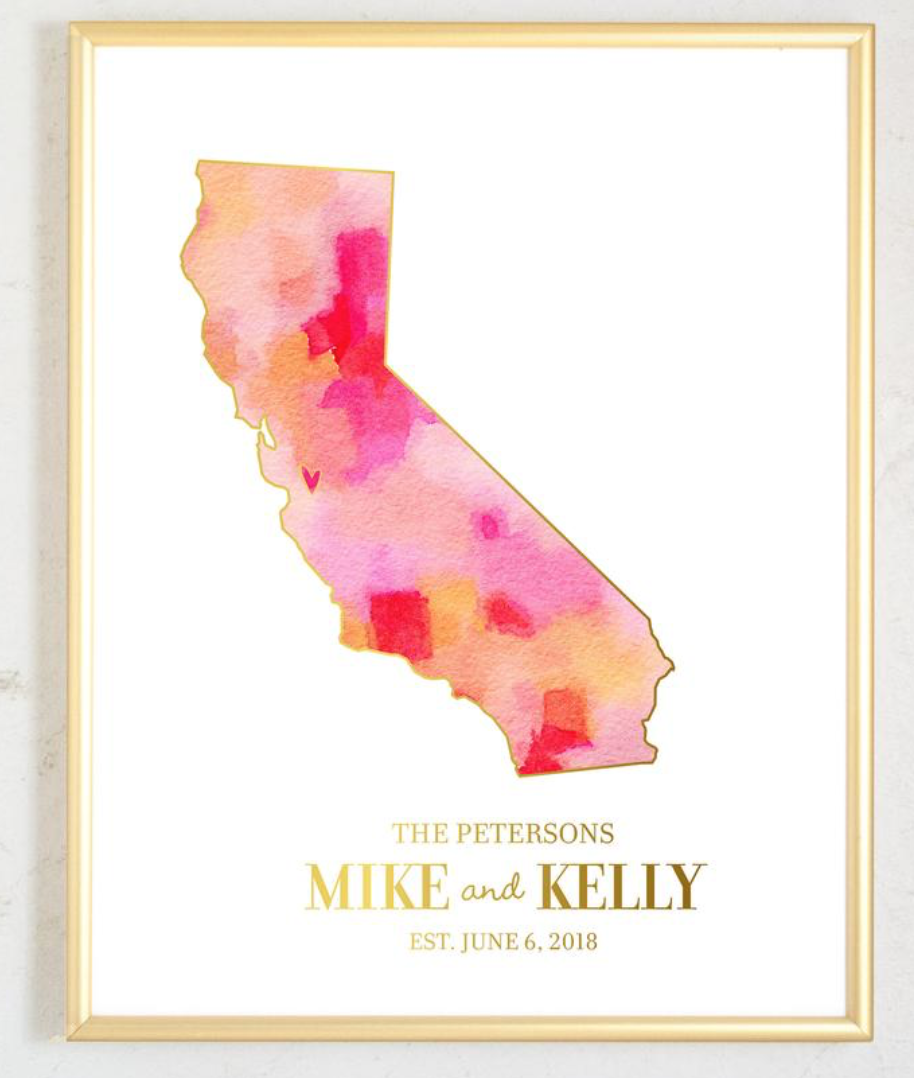 State watercolor print