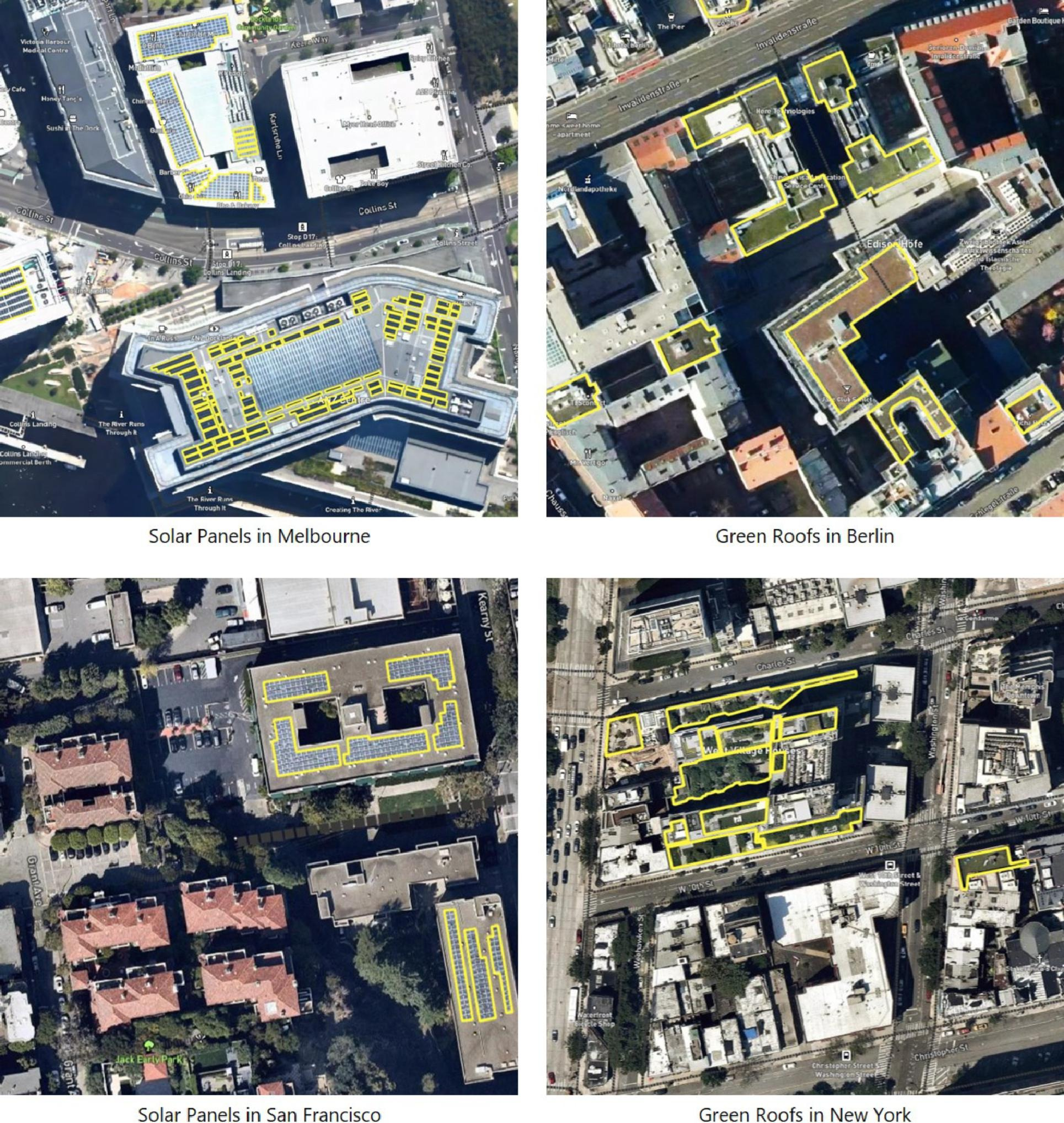 Image of rooftops outlined and labeled as solar or greenery.