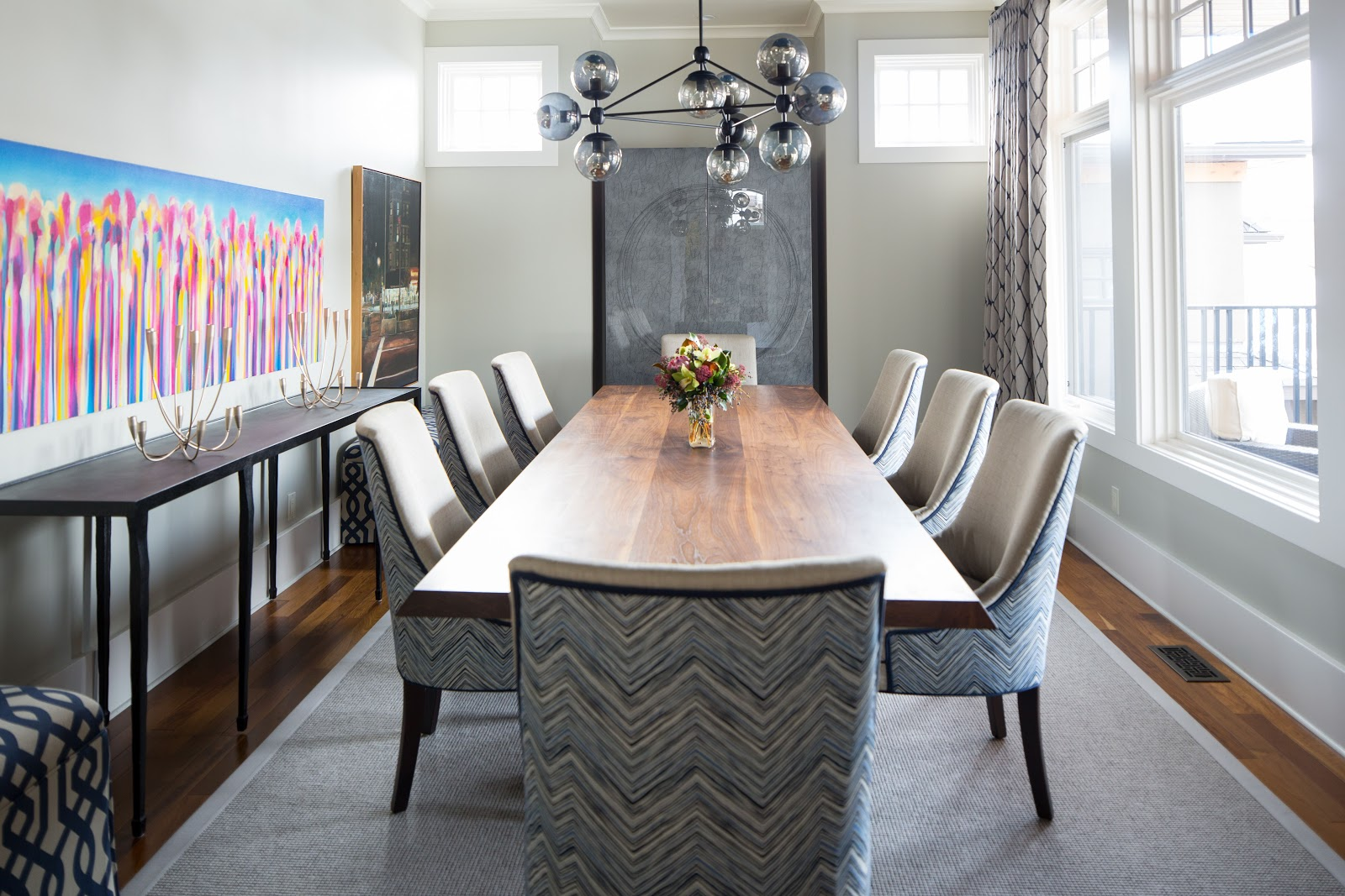 calgary interior design firm dining room area rug patterned gray classic timeless elegant