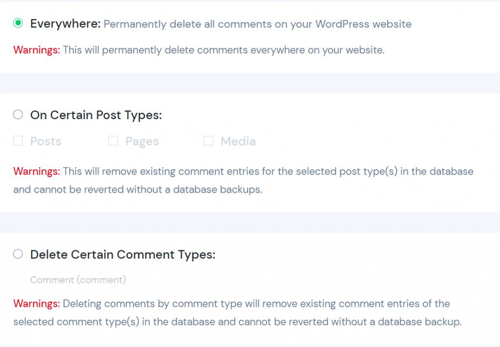 opção everywhere para desabilitar comentários do wordpress usando o disable comments