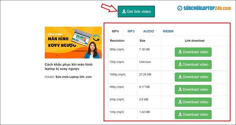 Tùy chọn chất lượng video và bấm Download để hoàn tất quá trình tải