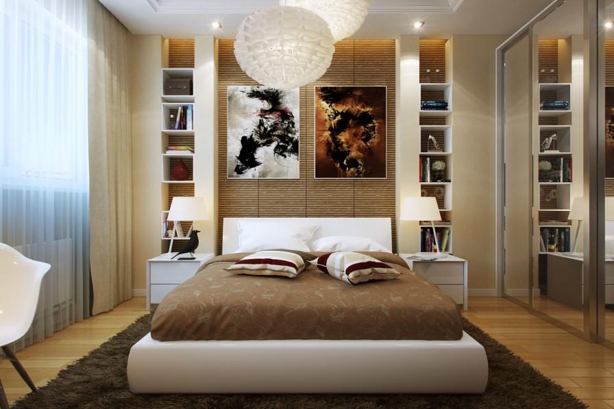 Trang trí phòng ngủ bằng đèn trần và các kệ tủ tường đẹp mắt