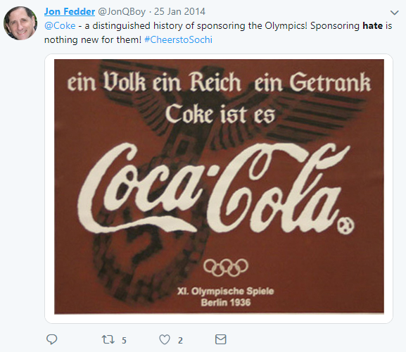 "Tweet mentioning ""@Coke"" and with the word ""hate"""