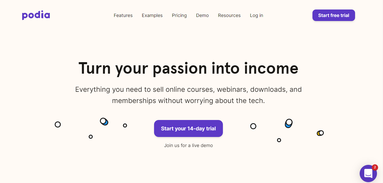 Podia Website Builder Homepage