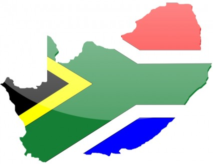 South African flag on map of South Africa