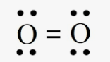 four dots on each oxygen atom represent lone pairs of electrons