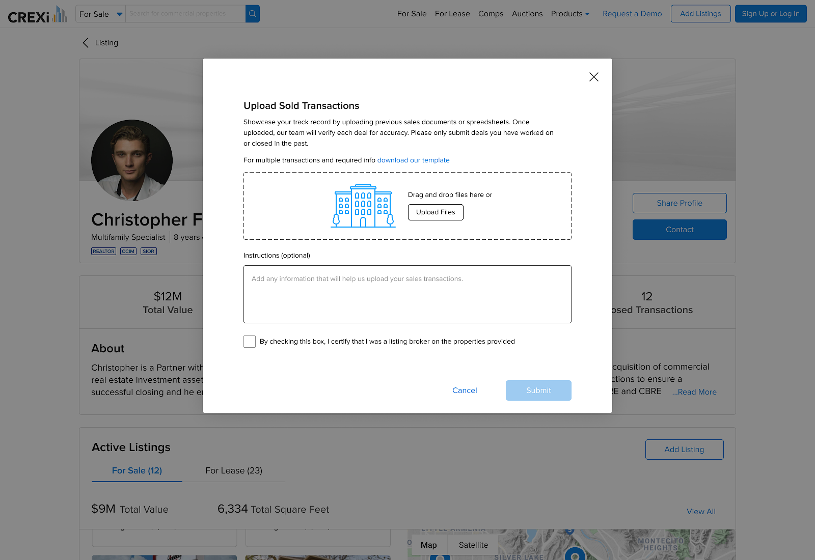 """screenshot of new feature """"upload sold transactions"""" for brokers to highlight previous experience"""