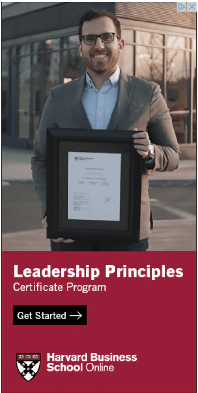 Example of a banner ad from Harvard Business School Online