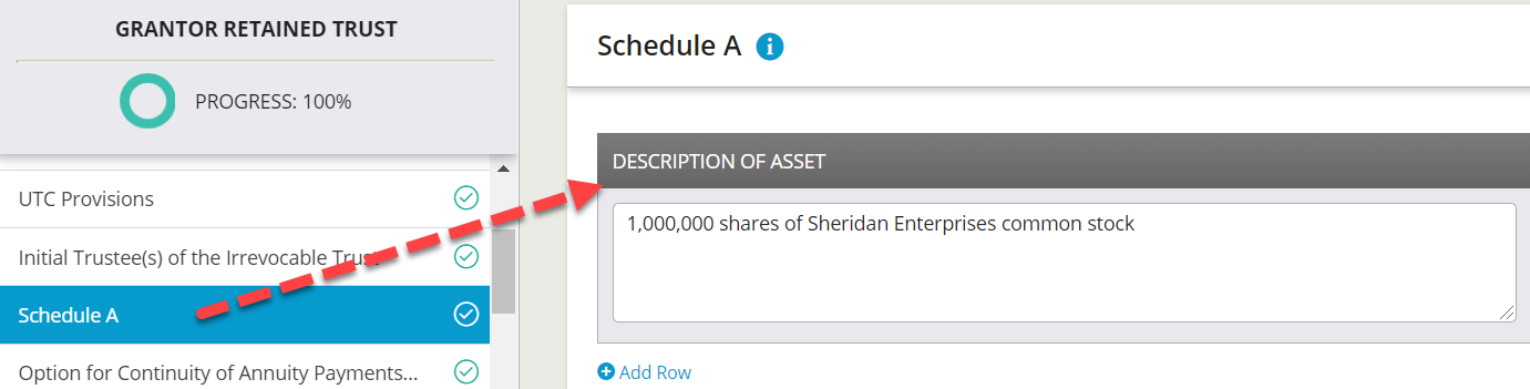 Wealth Docx provides the related Schedule A where users can enter the asset descriptions.