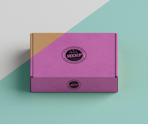 Pink brand box arrangement Free Psd