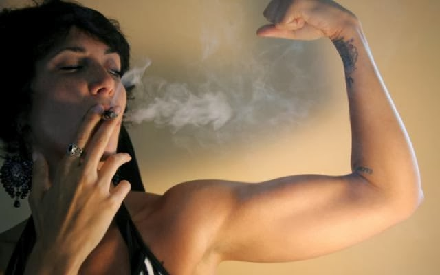 alpha female smoking weed and kicking ass