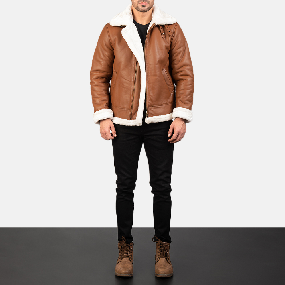 Francis B-3 Brown Leather Bomber fall Jacket