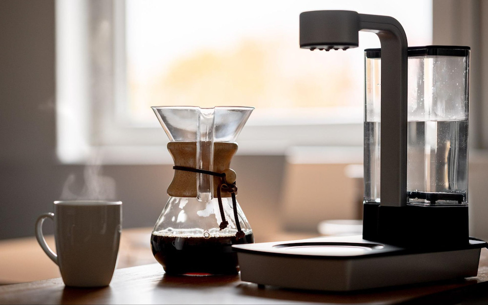 coffee pourer and chemex on table